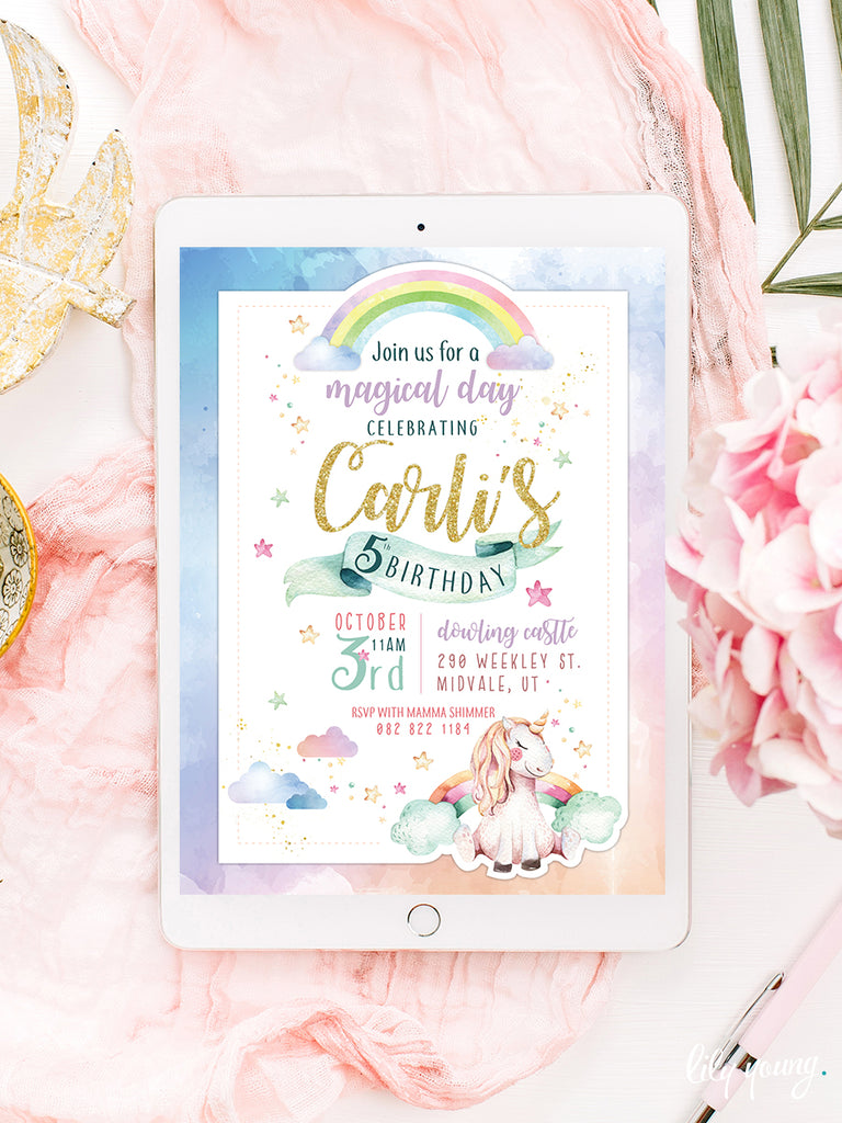 EDITABLE Unicorn E-Invitation