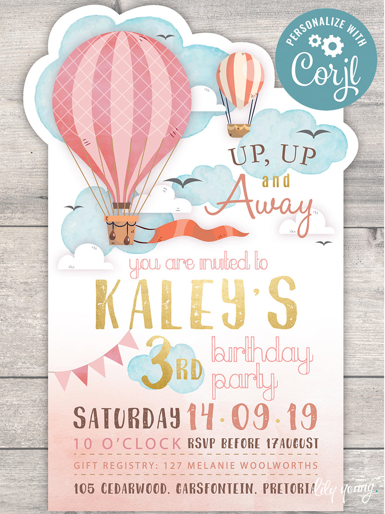 EDITABLE Up, Up & Away E-Invitation
