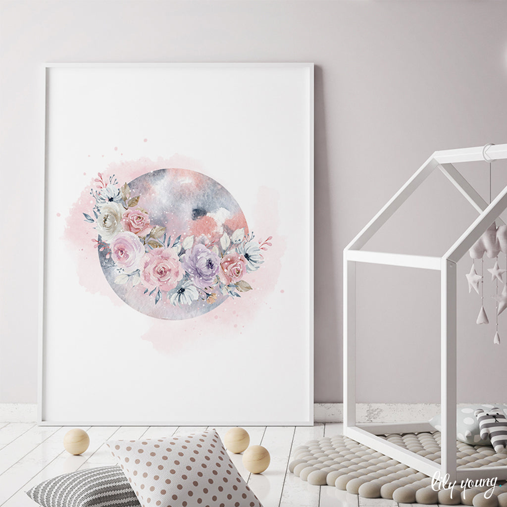 Floral Moon Wall Art