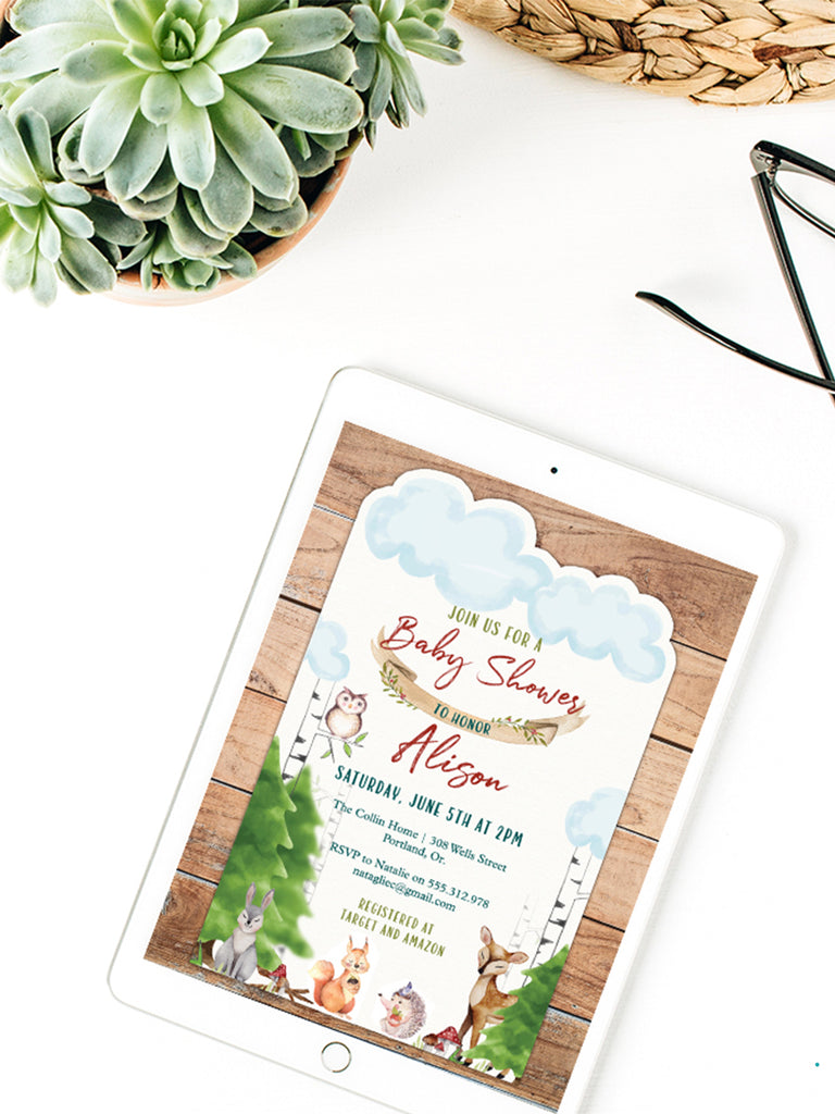 EDITABLE Woodlands E-Invitation