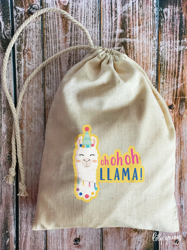 Green/Yellow Llama Draw string Bags - Pack of 12