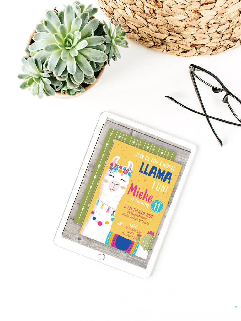 EDITABLE Yellow/Green Llama E-Invitation