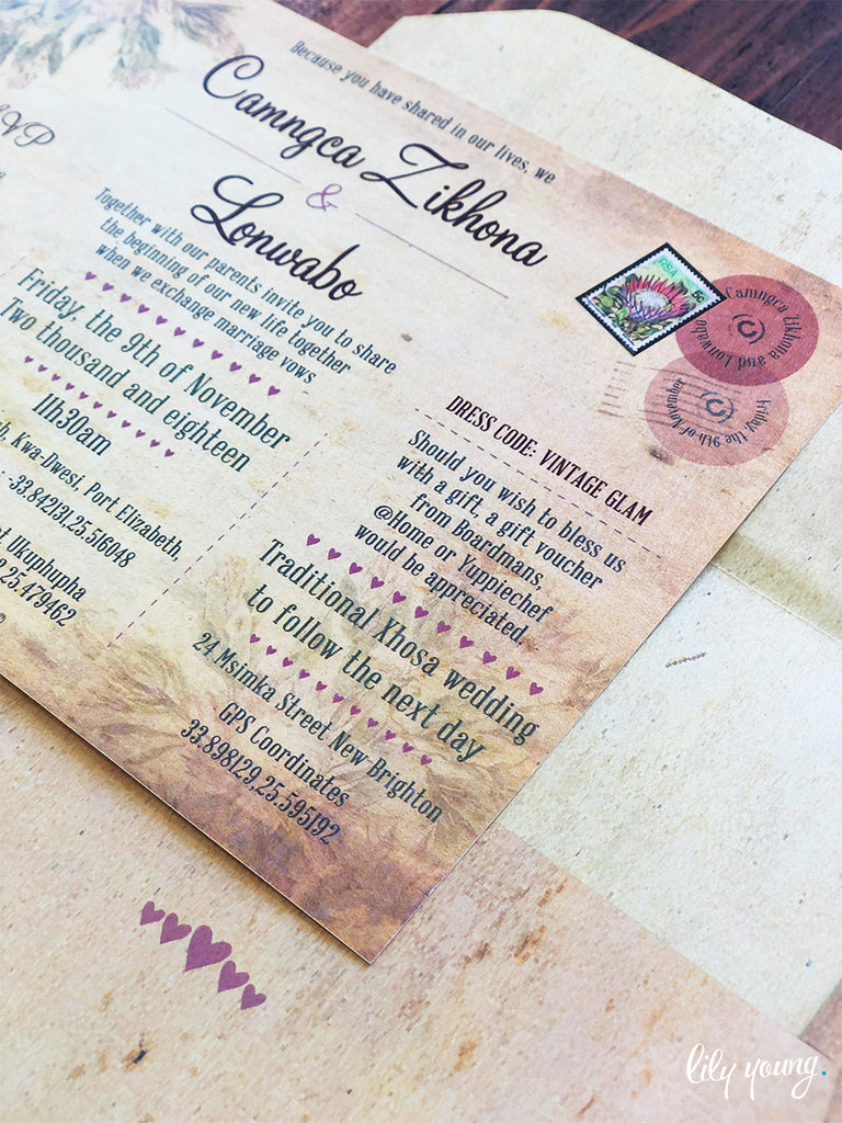 Zikhona Printed Invitation Suite