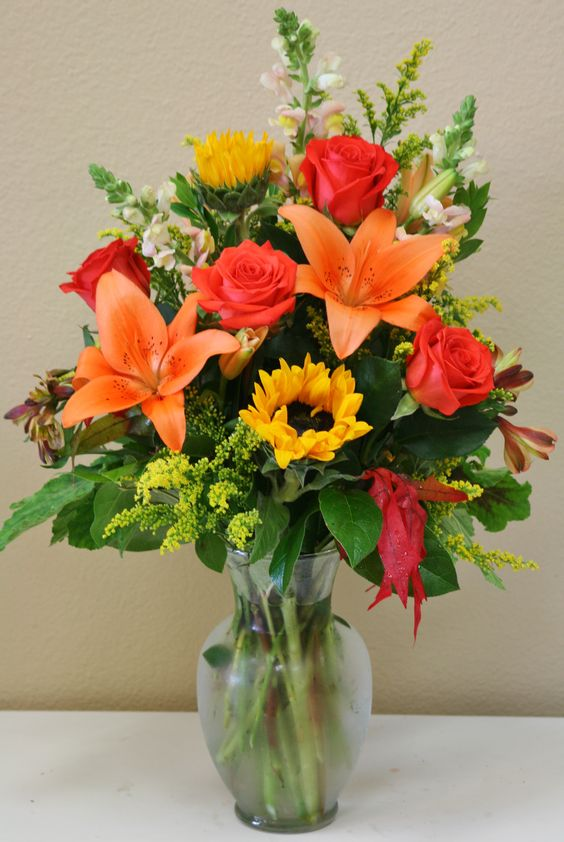 fall flowers sunflower bouquet orange lily orange rose long stem chicago il florist 60634 order flowers online same day