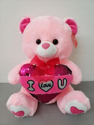 "Pink Plush Bear 12"" Gift Wrapped - www.bloomfloralshop.com"