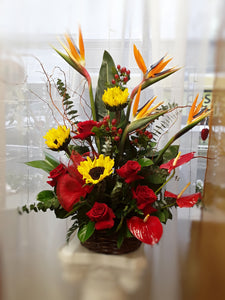 red rose bouquet tropical flowers chicago bird of paradise bouquet sunflower bouquet chicago il florist 60634 60647