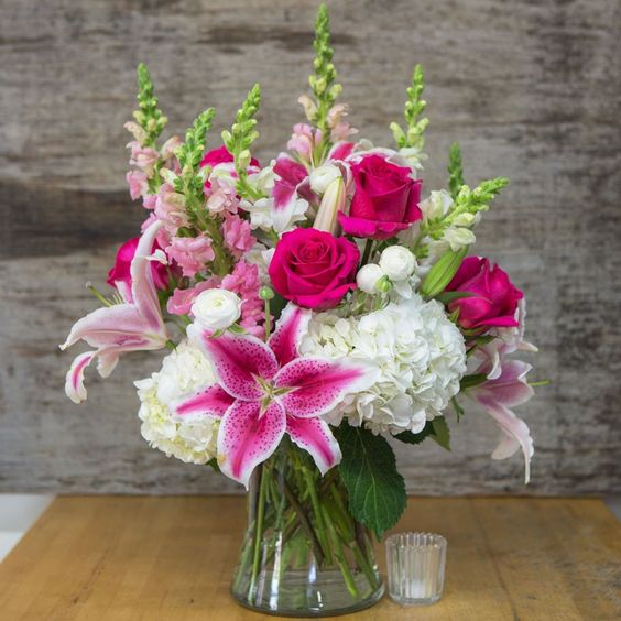 white hydrangea pink rose hot pink bouquet stargazer lily arrangement florist in chicago il 60634 same day flower delivery downtown flowershop chicago il florist
