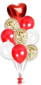 Red, White & Gold Balloon Bouquet - www.bloomfloralshop.com