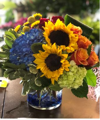 sunflower bouquet hydrangea orange rose chicago il florist chiago illinois flower delivery downtown flower shop same day flowers