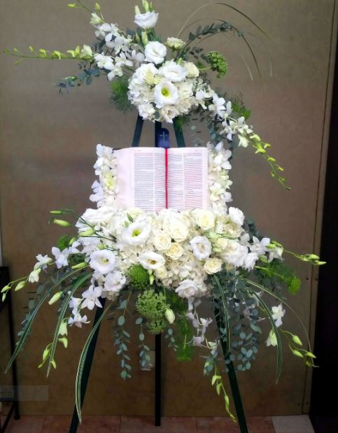 White & Blue Funeral Sympathy Arrangement for Bible