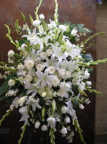 In Memory White Standing Spray Funeral Flowers - www.bloomfloralshop.com