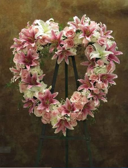 Pink Slumber Heart Wreath Funeral Flowers