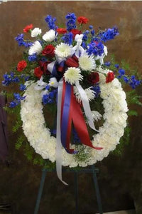 Red White & Blue Funeral Wreath - www.bloomfloralshop.com