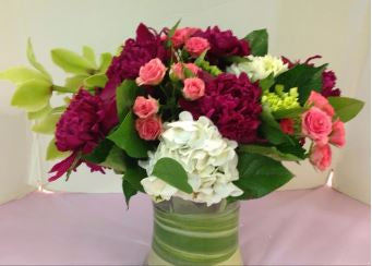 peony bouquet hydrangea pink roses long stem chicago il florist 60647 60634 flowers shop downtown order flowers online cheap flower delivery