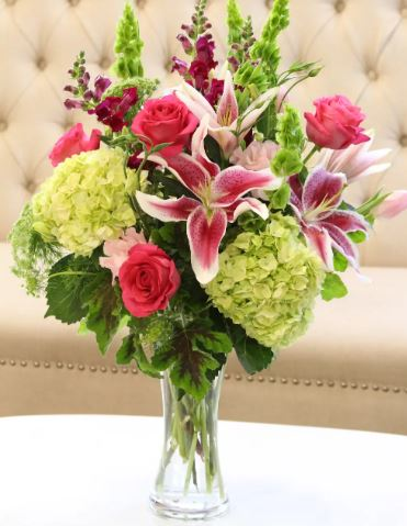 stargazer lily bouquet hydrangea pink roses long stem chicago il florist 60634 valentines day delivery flowers local cheap