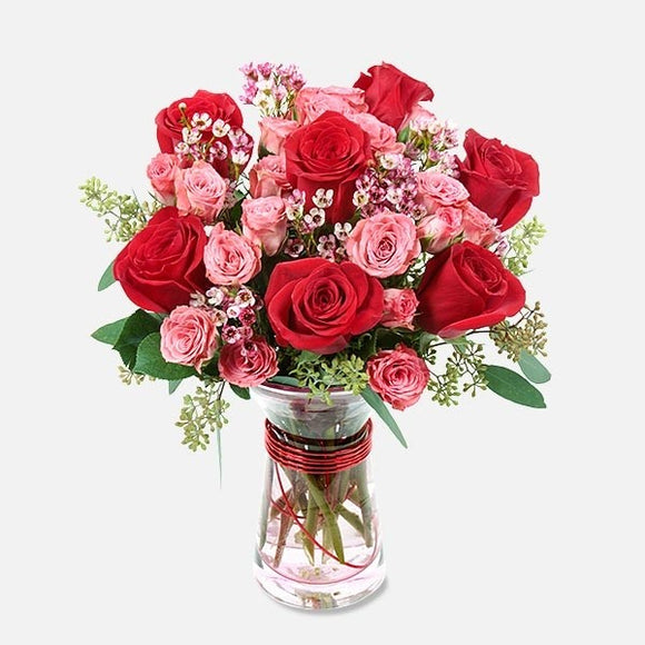 long stem red rose bouquet pink roses valentines day flower delivery chicago il florist 60634
