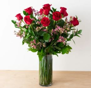long stem dozen red roses bouquet valentines flowers anniversary flowers chicago il florist 60634 60647