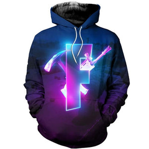 Glowing F - Premium GameCoral Fortnite Hoodie