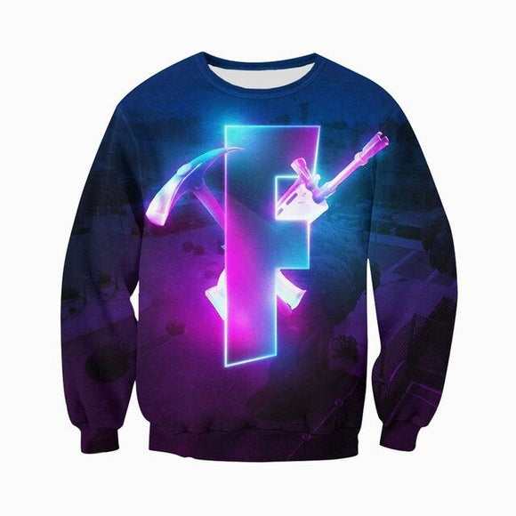 Glowing F - Premium GameCoral Cotton Fortnite Sweater