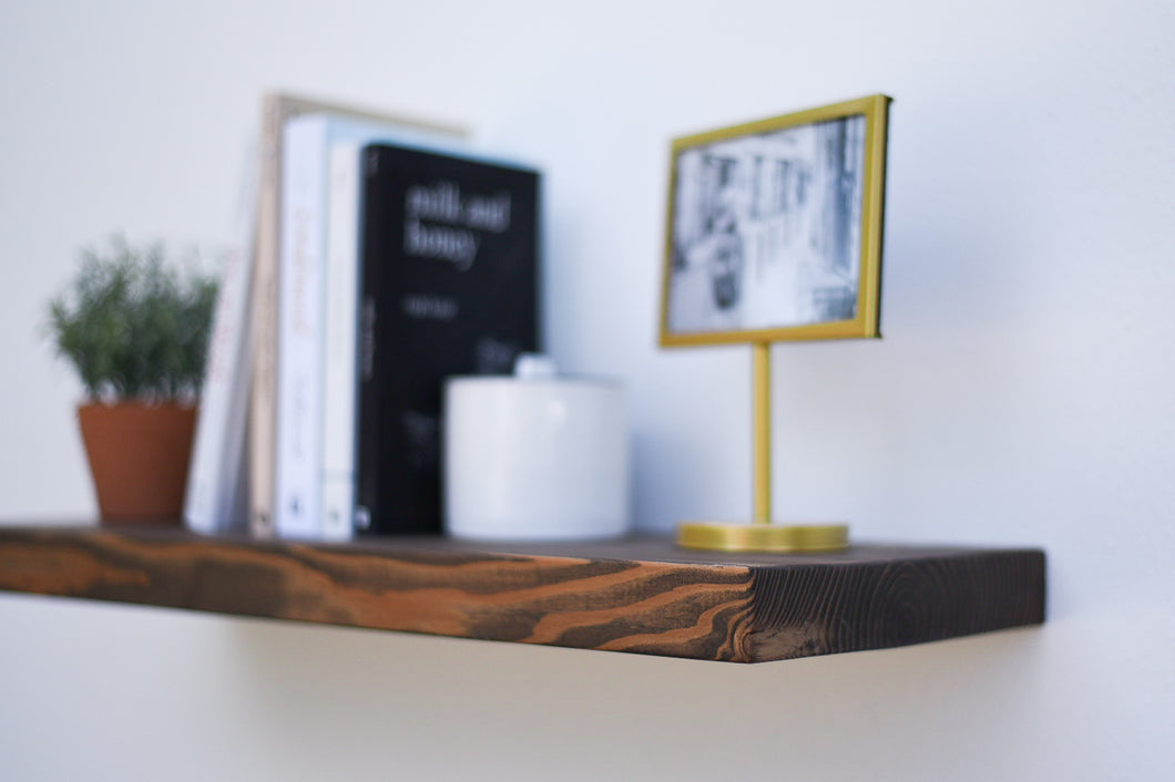 Rustic Espresso Floating Shelf - up to 11
