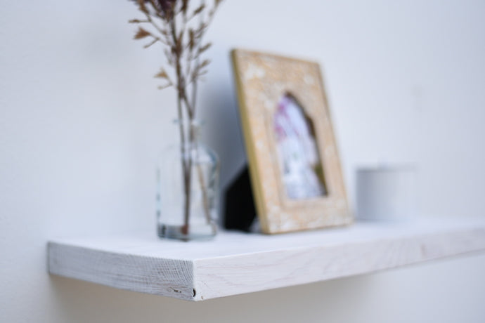 Rustic White Wash Floating Shelf - up to 11