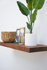 "Solid Walnut Floating Shelf 10"" Depth - Custom Sizes For Your Needs - Includes Sheppard Bracket & Hardware - 0 VOC Natural Finish - Free Shipping"