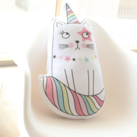 Coussin Peluche Licorne chat