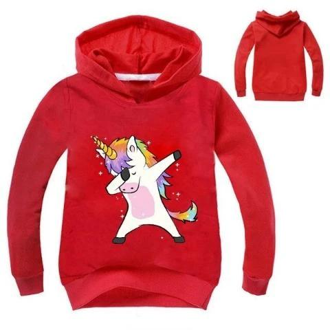 Sweat Licorne Dab Enfant rouge