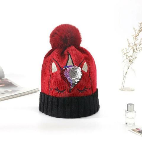 Bonnet Licorne Adulte rouge