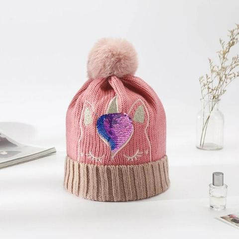 Bonnet Licorne Adulte rose