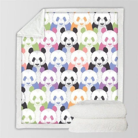 Couverture panda multicolore