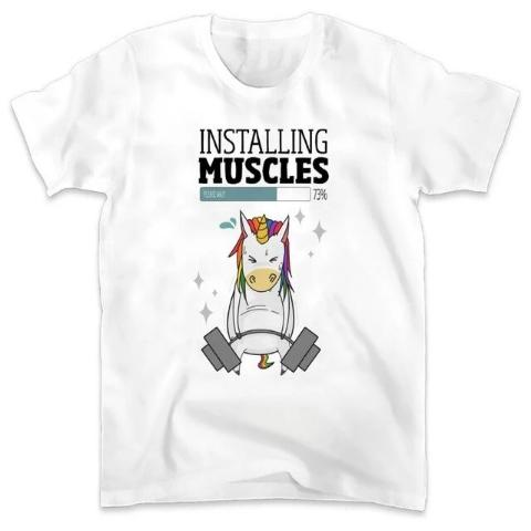 T-Shirt Licorne Installing Muscles Please Wait