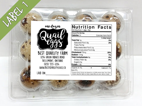 Personalized Quail Egg Carton Labels