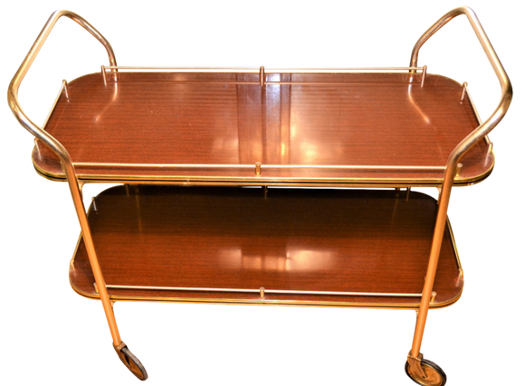 Wood Formica, Two Tier, Long Tea Trolley / Hostess / Drinks / Cocktail Bar. - Retro & Vintage Furniture and Homewares
