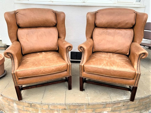 Pair of Pendragon Leather High Back Armchairs - Retro & Vintage Interiors