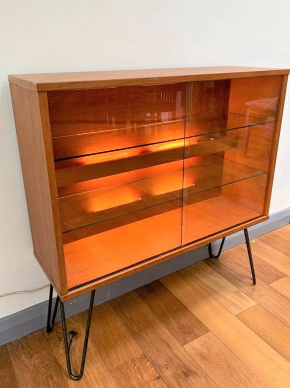 Teak Tapley 33 Display Cabinet with Glazed Doors & Hairpin Legs - Retro & Vintage Furniture and Homewares