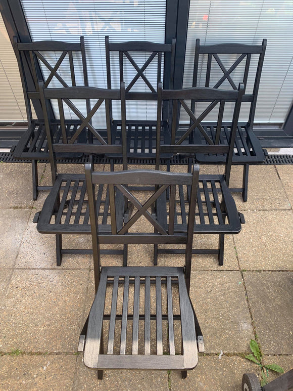 Six Wooden Folding Garden Chairs - Retro & Vintage Furniture and Homewares