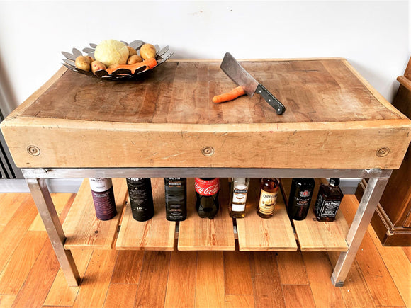 Reversible End Grain Maple Butchers Block with Industrial Stand - Retro & Vintage Interiors
