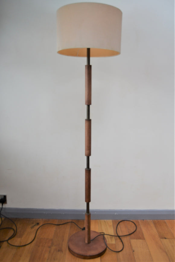 Saddler Brown Leather Effect Standard Floor Lamp - Retro & Vintage Furniture and Homewares