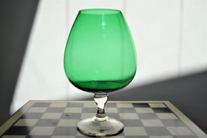 Large Vintage Green Glass Goblet / Brandy Balloon - Retro & Vintage Furniture and Homewares