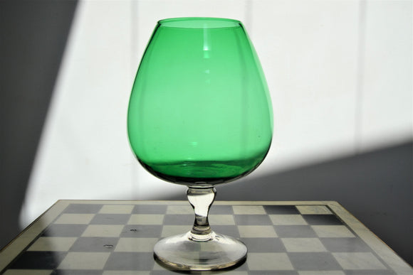 Large Vintage Green Glass Goblet / Brandy Balloon - Retro & Vintage Interiors