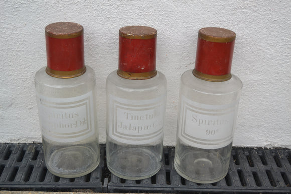 Antique French Pharmacy Apothecary Bottles with Etched Glass - Retro & Vintage Furniture and Homewares