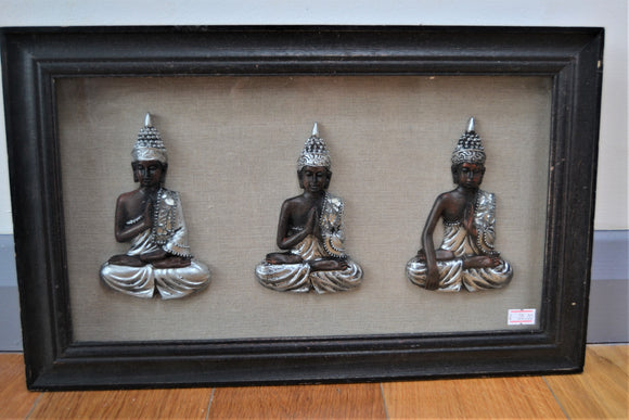 Carved Buddhas mounted in boxed Picture Frame - Retro & Vintage GB