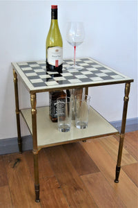 Marble Chess Table with Bronze Frame - Retro & Vintage Furniture and Homewares