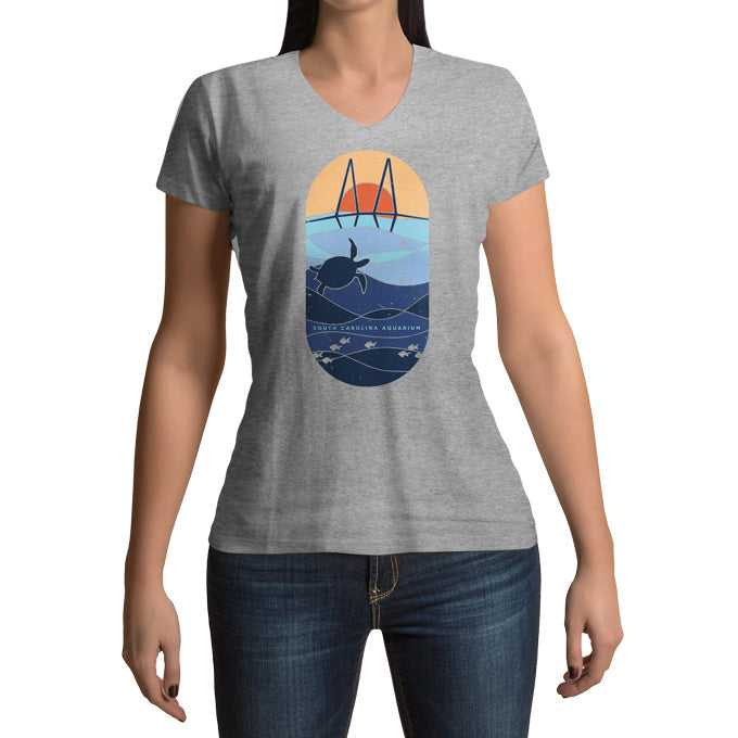 Sea Turtle - Ladies V-Neck