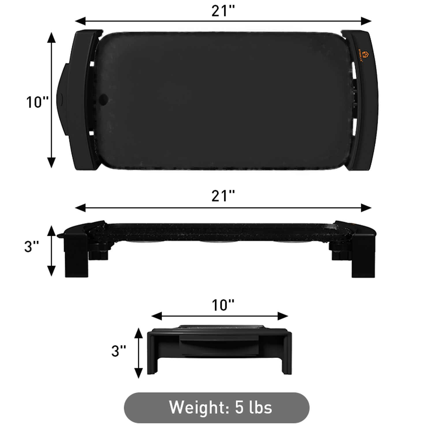 Black griddle color weight and dimensions