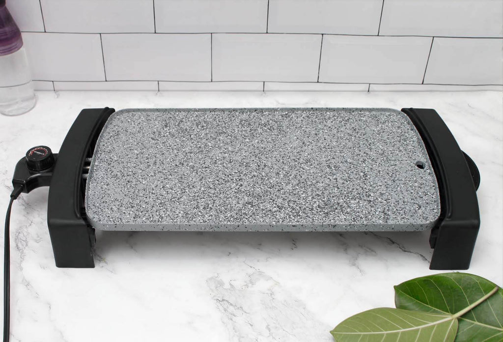Electric griddle with maifan stone coating