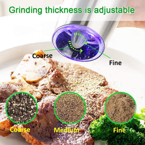 Electric Automatic Mill Pepper and Salt Grinder LED Light Peper Spice Grain Mills Porcelain Grinding Core Mill Kitchen Tools Black
