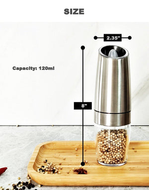 Electric Automatic Mill Pepper and Salt Grinder LED Light Peper Spice Grain Mills Porcelain Grinding Core Mill Kitchen Tools Stainless Steel