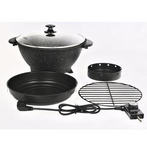 "ATGRILLS Multi-function Electric Smoker Wok Indoors with Lid 12.8"", Marble"